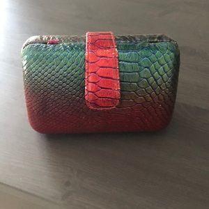 ASOS clutch bag hard case snakeskin green red